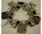 I LOVE To Sew Charm Bracelet Altered Art by RoseCreekCottage Sewing Scissors Seamstress