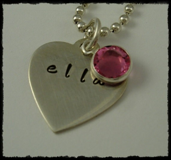 Hand Stamped Heart Charm Necklace -   Personalized Handstamped Jewelry -  Birthstones For  Mom Grandma Children