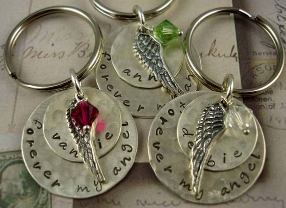 Hand Stamped Keyring Remembrance Jewelry for Dad, Mom - Sterling Unisex - Angel Wing Memorial - Sympathy Keepsake