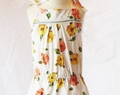 Daisy Drop Waist Daydress  Peach and Yellow Floral 18m
