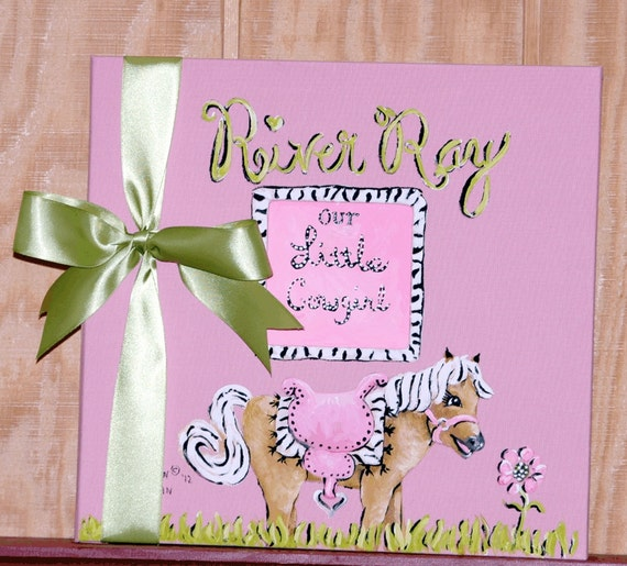 Little Cowgirl Baby Memory Book in Soft Pink Colors