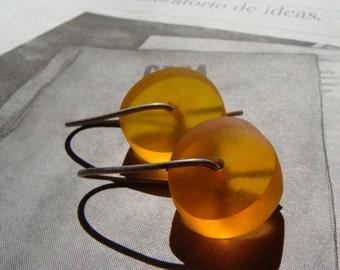 Tangerine resin earrings