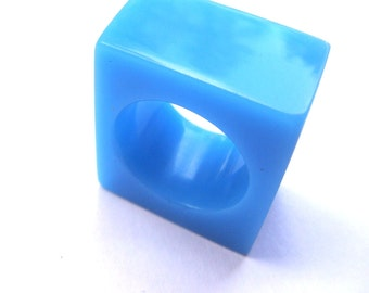 Solid rectangular blue resin ring hand fabricated, unique piece, 6.5 size