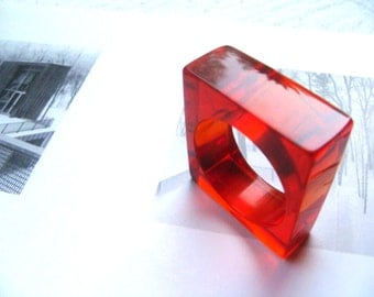Red translucent resin ring