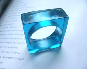 blue translucent resin ring