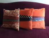 Deep Orange Velour and Black Necktie Pillow 18 inch square with insert