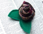 Rosette Flower Necktie Brooch Pin in plum and indigo paisley