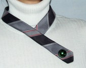 Necktie necklace in charcoal gray red white stripes with pearl green button