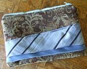 Zipper Clutch Purse Bag in mocha brocade upholstery with ice blue neckties