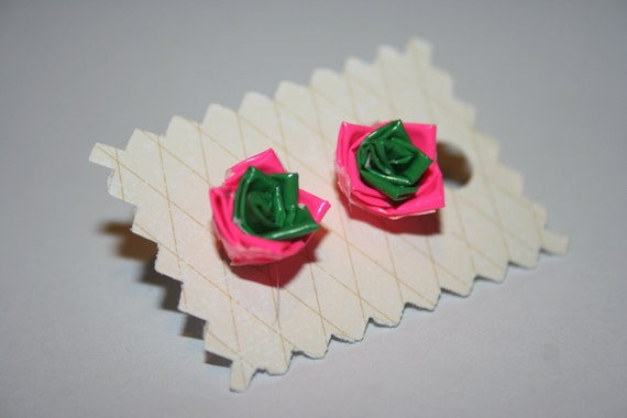 Pink and Green Duct Tape Flower Earrings