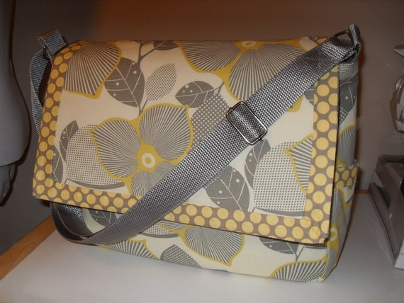 Optic Blossoms Messenger/Diaper Bag w/Amy Butler Fabric-Ready to Ship Priority Mail in US