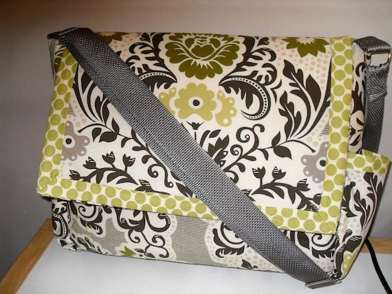 Secret Garden Messenger/Diaper Bag w/S Henderson fabric Made to Order