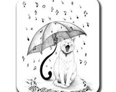 Cat Singing in the Rain Art Mouse Pad