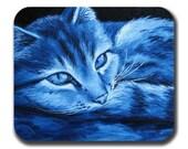 Blue Cat Art Mouse Pad