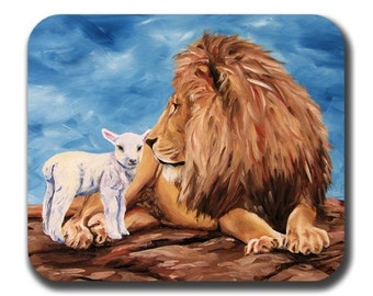 Lion and Lamb Art Mouse Pad