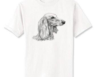 Saluki 2 Dog Art T-Shirt Youth and Adult Sizes