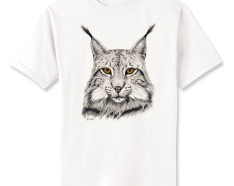 Eurasian Lynx Cat Art T-Shirt Youth and Adult Sizes