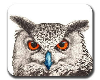 Owl Face Art Mouse Pad