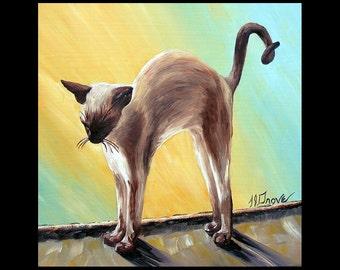 Siamese Stretch Cat 10 x 10 Signed Giclee Fine Art Print