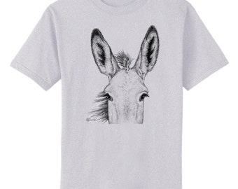 Burro Ears Donkey Mule Art T-Shirt Youth and Adult Sizes