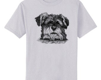 Schnauzer on Paws Dog Art T-Shirt Youth and Adult Sizes