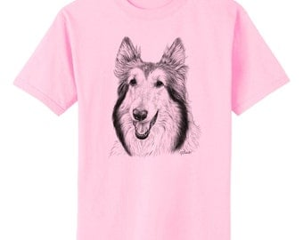 Collie Dog Art T-Shirt Youth and Adult Sizes