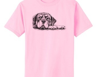 Rottie on Paws Rottweiler Dog Art T-Shirt Youth and Adult Sizes