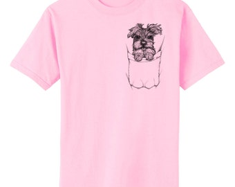 Schnauzer Pup in Pocket Dog Art T-Shirt Youth and Adult Sizes