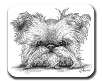 Brussels Griffon On Paws Dog Art Mouse Pad
