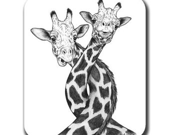 Giraffe Twist Art Mouse Pad