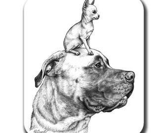 Mastiff and Chihuahua Dog Art Mouse Pad