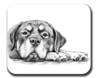 Rottweiler Rottie on Paws Dog Art Mouse Pad