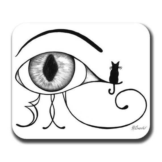Eye of Ra with Little Cat Art Mouse Pad