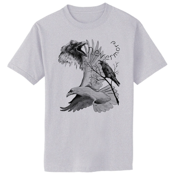 Raven Nevermore Poe Crow Bird Art T-Shirt Youth and Adult Sizes