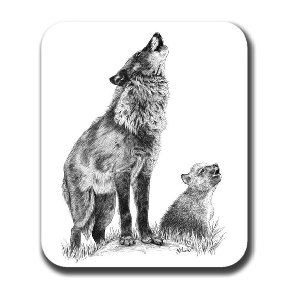 Wolf Mouse Pad - Mom and Cub Howling Lessons Art