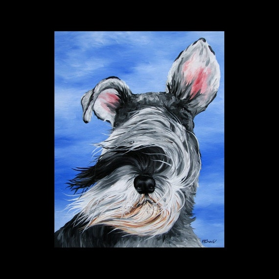 Sailing with a Schnauzer Dog 11 x 14 Signed Giclee Fine Art Print