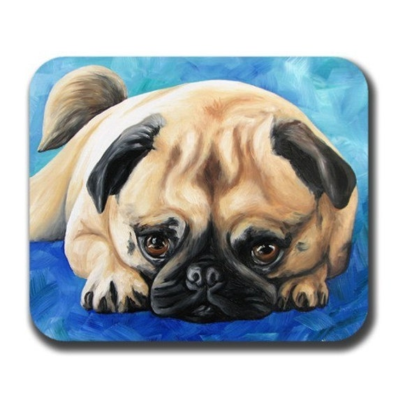 Pug On Paws in Color Dog Art Mouse Pad