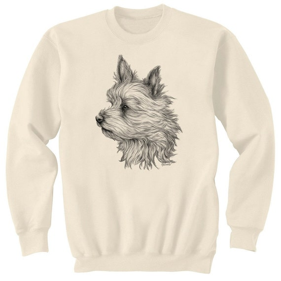 Yorkie In The Wind Yorkshire Terrier Dog Art Sweatshirt Ultra Cotton Small - 2XL