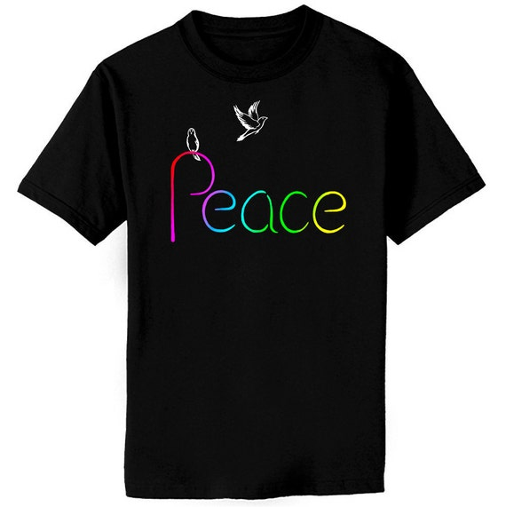 Colorful Peace And White Doves Art T-Shirt Youth and Adult Sizes