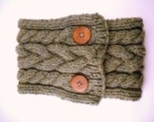 Braided Cable Scarflette in Willow- Free Shipping