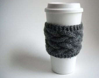 Coffee Cuff in Charcoal Gray Braided Cable Coffee Cuff - Free Shipping