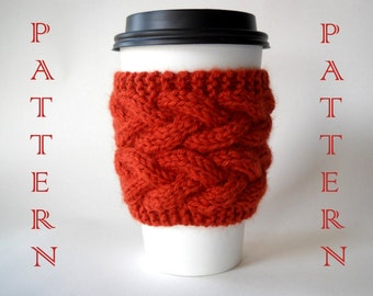 KNITTING PATTERN - Double Braided Cable Coffee Sleeve