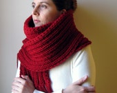 Chunky Scarf - Blood Red - Handknitted in Blend Wool