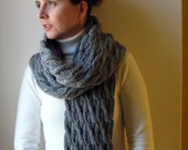 October Discount Gray Cables Scarf