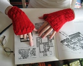Fingerless Gloves Knitted in Red Merino Blend Wool