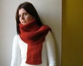 burnt orange scarf - knitted in merino blend wool