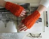 Fingerless Gloves Knitted in Orange Merino Blend Wool