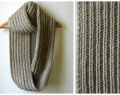 Infinity Scarf - Cowl Neck Knit in Beige Wool - Loop Scarf - Circle Scarf