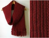 Chunky Scarf Knitted in Dark Red Blend Wool