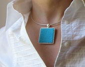 Sky Blue Knitted Square Pendant Necklace